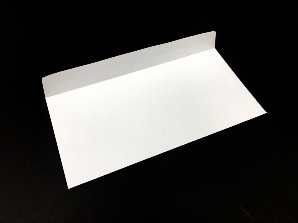 Koperta DL 90 g, koperta 100 g, koperta biała pod nadruk, widok zamknięcia