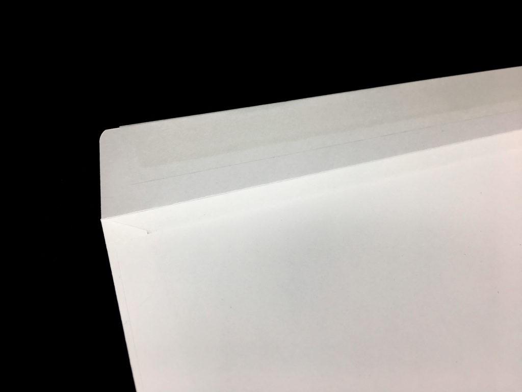 Koperta DL 90 g, koperta 100 g, koperta biała pod nadruk, zbliżenie zamknięcia